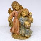 Vintage angel figurine 2 angels made in Italy numbered 54 lantern lute singing