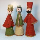 Vintage 3 Kings Christmas Ornaments made in Japan burlap fabric cardboard 1960s