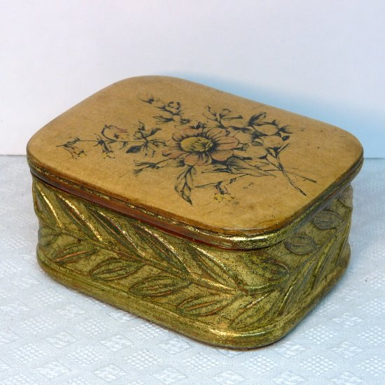 Vintage Borghese cast plaster lidded box floral flowers gilded red label