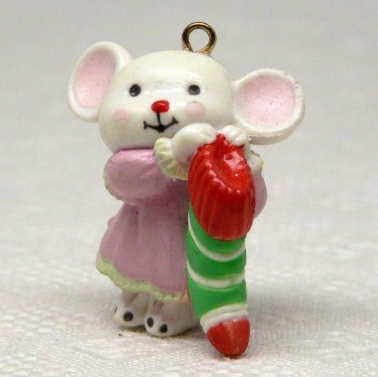 Avon A Merry Little Christmas Miniature Ornament Merry Mouse holding a stocking
