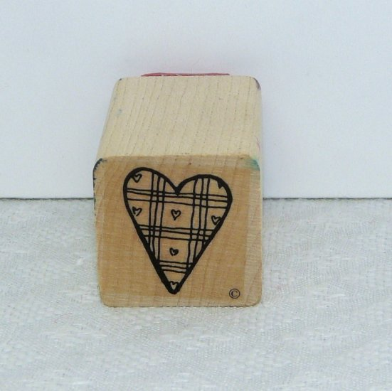 Rubber Stamp small plaid heart