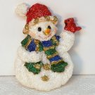 Christmas pin Snowman with bird Cardinal glitter clutch back cast resin New