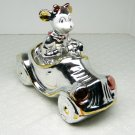 Vintage figurine female mouse in car roadster convertible ceramic luster glaze silvertone