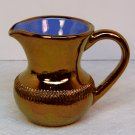 Vintage small pitcher copper luster glaze blue interior Creigiau Wales
