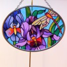 Joan Baker Designs art glass suncatcher small oval irises dragonfly
