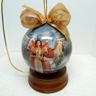 Holiday Barbie Christmas ornament 1997 Decoupage 4 inch plus stand