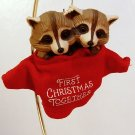 Vintage Hallmark Christmas ornament 1987 First Christmas Together raccoons box QX4459