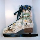 Large ice skate figure skating Christmas holiday wall plaque pocket snowman polar bears snowball