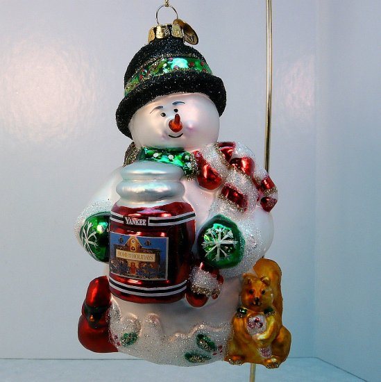 Yankee Candle Christmas Ornament Christopher Snowbrite Margaret Cobane  glass snowman box - Yankee Candle Christmas Ornament Christopher Snowbrite Margaret