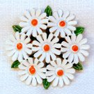 Vintage painted daisy cluster pin brooch white orange green daisies floral flower