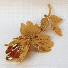 Vintage pin brooch fantasy tulip floral flower gold tone metal faux pearl
