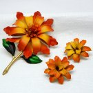 Vintage pin and clip on earring set demi flower floral orange gold tone