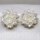 Vintage clip earrings plastic white rose irridescent flowers floral