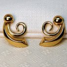 Vintage Costume Coro Earrings Gold tone Swirl Design Screw Back