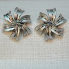 Vintage Trifari Crown Earrings Clip On Costume Silve rtone Ribbon Design Matte and Shiny