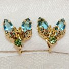 Vintage clip earrings insect fly prong set rhinestones gold tone small turquoise green