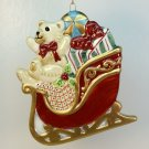 Fitz and Floyd Essentials Christmas ornament Teddy's Christmas ceramic bear sleigh