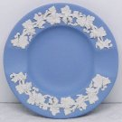 Vintage Wedgwood white on light blue jasper ashtray small grape leaves