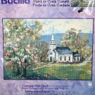 counted cross stitch kit Countryside White Church Bucilla