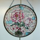 Joan Baker Designs art glass suncatcher Pink Petals with Love 3-1/2 inches diameter 2003