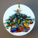 German Christmas ornament flat porcelain disk tree and toys gifts