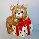 vintage teddy bear Christmas ornament 1985 Ebeling and Reuss ceramic Japan