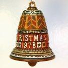Vtg Hallmark Schneeberg Bell Christmas ornament 1978 wood look