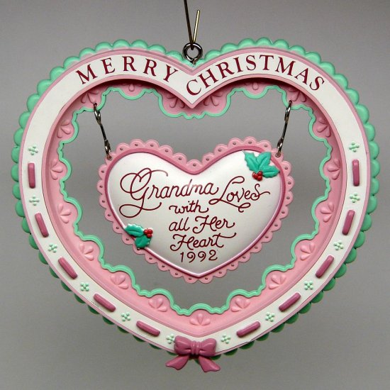 Carlton Cards Christmas Ornament Grandmother Heart to Heart 1992 box