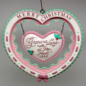 Carlton Cards Christmas Ornament Grandmother Heart to Heart 1992 box