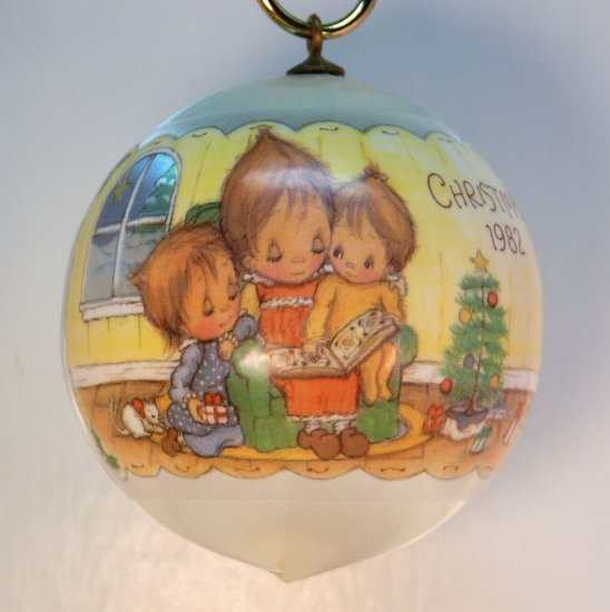 vtg Hallmark Betsey Clark Ornament 1982 Joys Christmas Multiplied 10th in series satin ball
