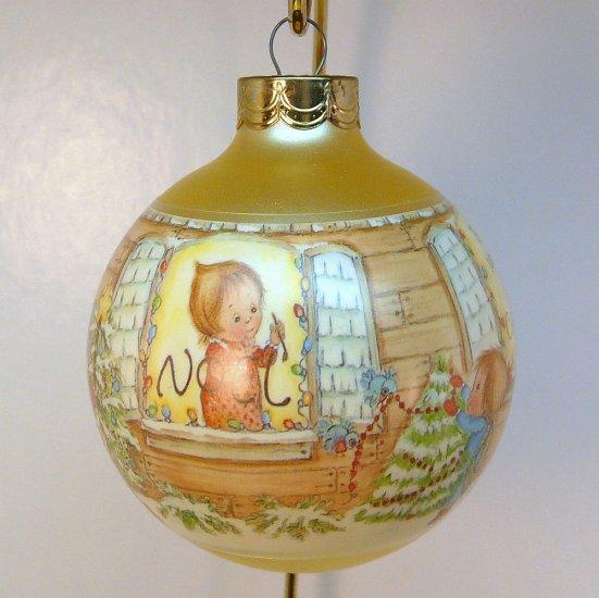 vtg Hallmark Betsey Clark Ornament 1987 Home for Christmas glass ball 2nd in series