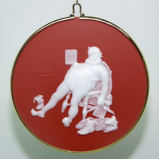 vtg Hallmark Norman Rockwell Cameo Ornament 1988 Santa 9th and final in the series To All Good Night