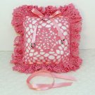 Valentine hand crocheted decorative pillow engagement gift