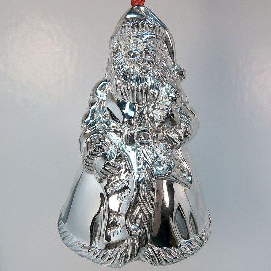 Godinger Santa silver plate Christmas bell ornament