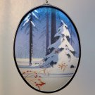 vtg Hallmark Satin Ornament 1985 Heart Full of Love padded fabric acrylic back snow scene