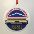Christmas ornament McKinley Explorer Alaska train Denali Anchorage Fairbanks porcelain disk