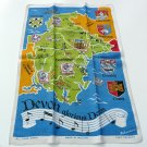 Vtg linen tea towel map Devon England made in Ireland