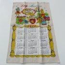 Vtg linen tea towel calendar 1977 Early Americana theme