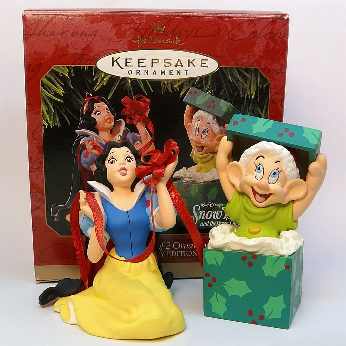 Hallmark Snow White and Dopey Christmas ornaments 1997 Anniversary edition box