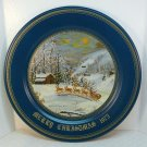 Vtg Queenie Franklin tin 1975 Christmas plate Arrival of Santa Claus Arlington Art