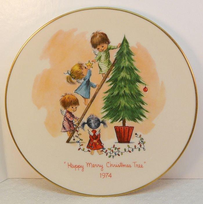 Vtg Gorham Fran Mar Moppets Christmas plate 1974 Happy Merry Christmas Tree 2nd of ltd edit