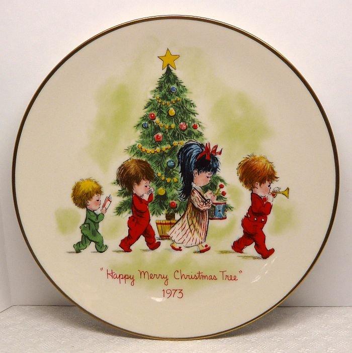 Vtg Gorham Fran Mar Moppets Christmas plate 1973 Happy Merry Christmas Tree 1st of ltd edit