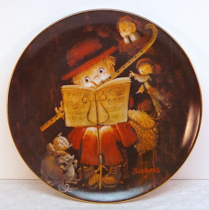 Vtg Ferrandiz Schmid plate The Flutist 1981 porcelain limited edition 1st in series musical box COA