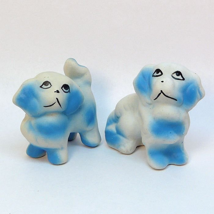 2 Vintage Pekingese dog figurines made in China bisque painted blue