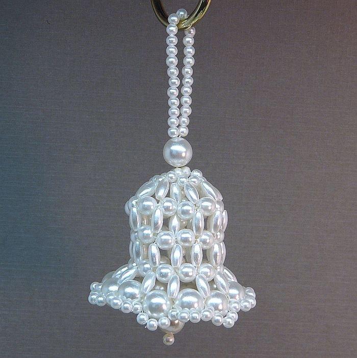 Faux pearl bell Christmas ornament handmade