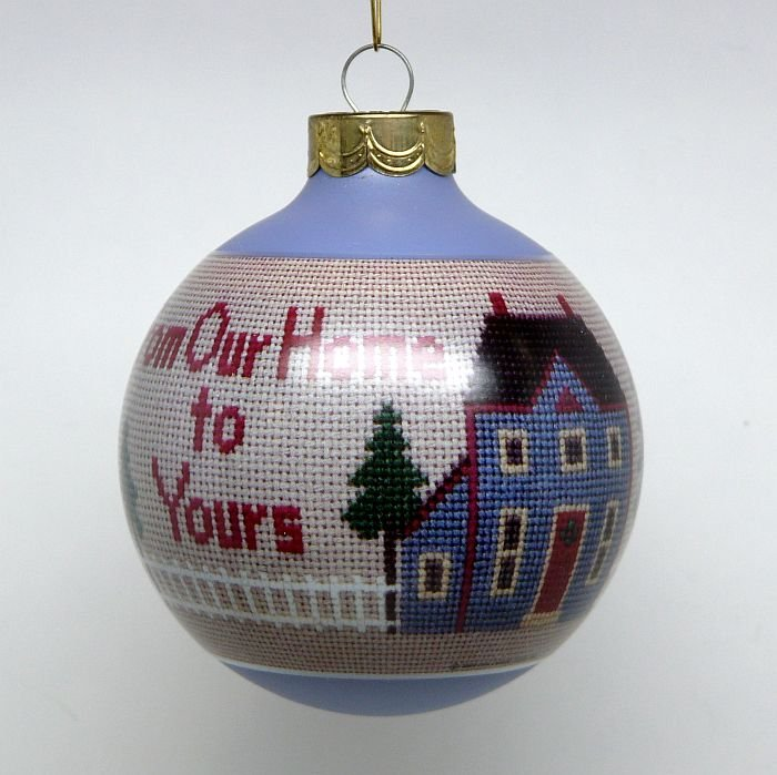 vtg Hallmark From Our Home to Yours Christmas ornament 1990 glass ball