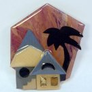 vintage House Pin by Lucinda Mid Century Modern abstract with palm tree contemporary Maine