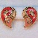 vintage Avon paisley earrings clip pink enamel openwork gold tone