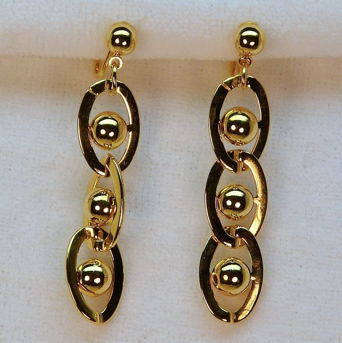 vtg Avon earrings clip dangle link ball gold tone