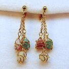 vtg earrings clip dangle gold tone with stones white pink and green